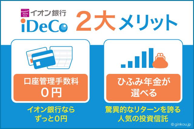 イオン銀行iDeCoの2大メリット