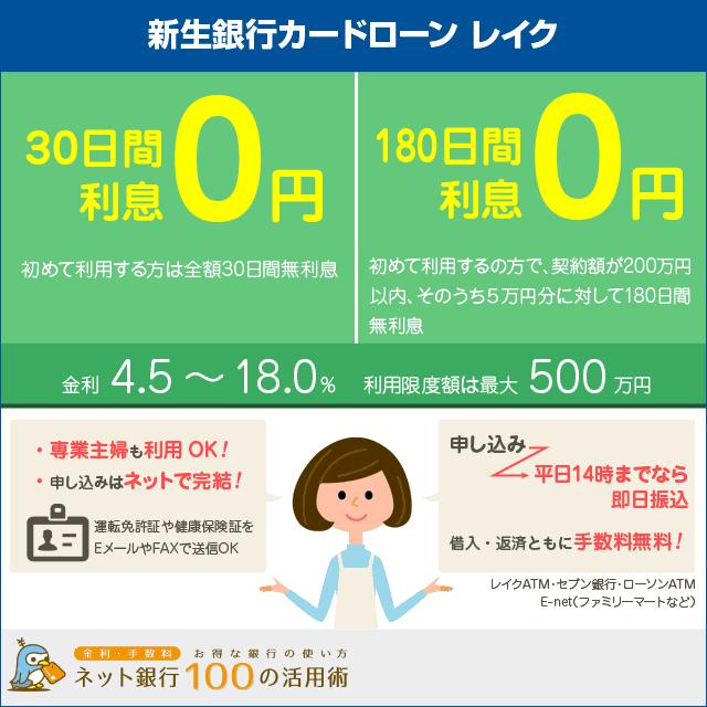 新生銀行カードローンレイクは初めてなら利息0円