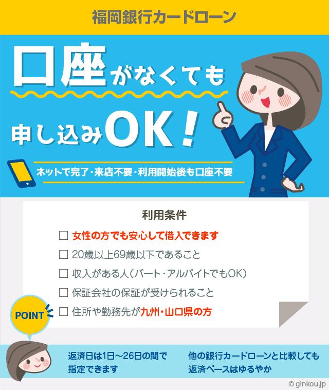 福岡銀行カードローンは口座無しでも借りられる