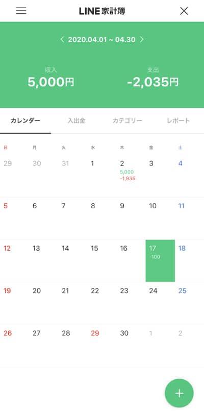 LINEアプリ 家計簿トップ画面