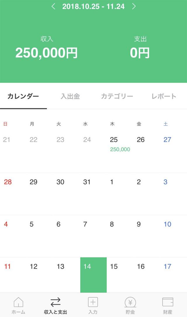 LINE家計簿カレンダー