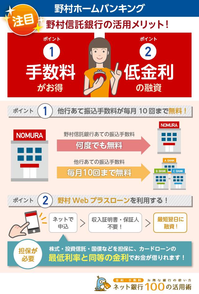 野村信託銀行は毎月10回他行あて振込手数料が無料