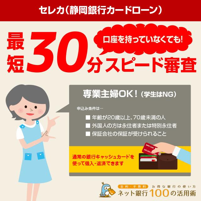 セレカ静岡銀行カードローンの特徴