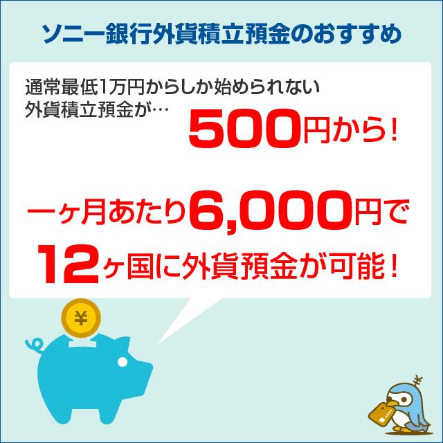 外貨積立預金は毎月500円から